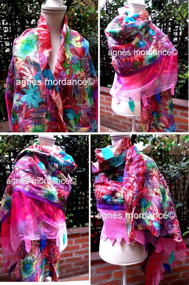 """Grande étole """"fenêtre sur Trinidad'' 180X70cm - pure mousseline de soie feutrée mérinos - pièce unique : Echarpe, foulard, cravate par agnes-mordance"""