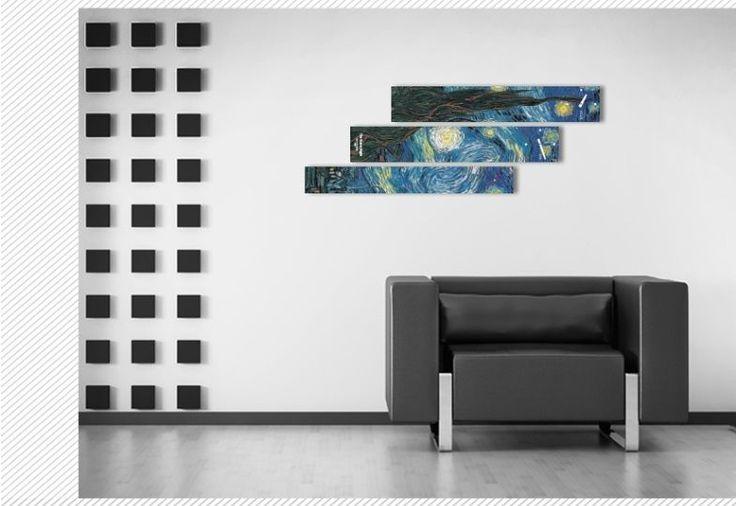 Interior Wall Clock Gogh The Starry Night, Modern Luxury 3pcs Framed Wall Art   #LEMONART #ArtDeco