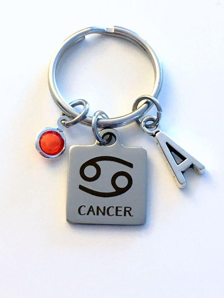 Cancer KeyChain, Zodiac Sign Key Chain, Gift for Birthday Present Keyring Birthstone Initial Personalized Custom Letter July June Key Ring by aJoyfulSurprise on Etsy