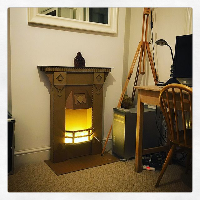 how to make a fireplace with cardboard