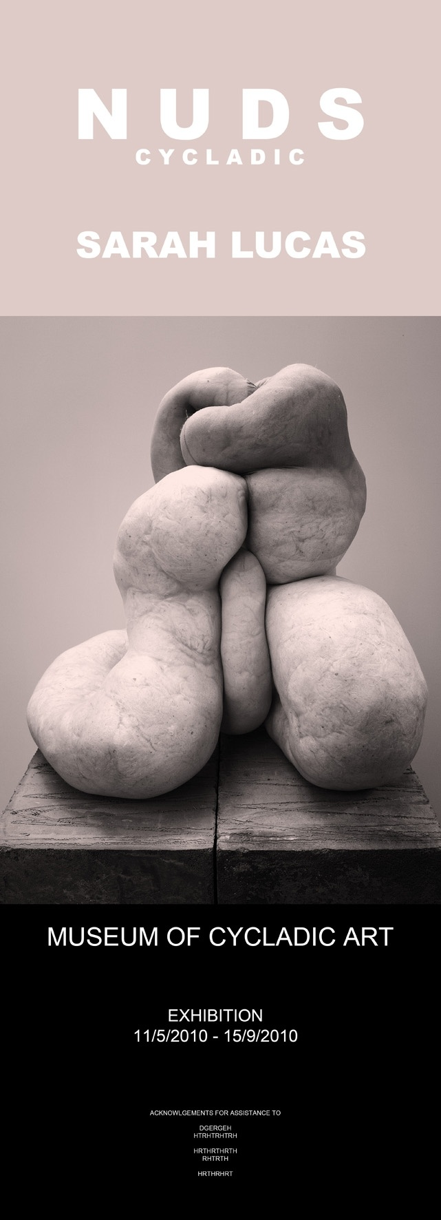 """""""Nuds Cycladic - Sarah Lucas"""" exhibition poster"""