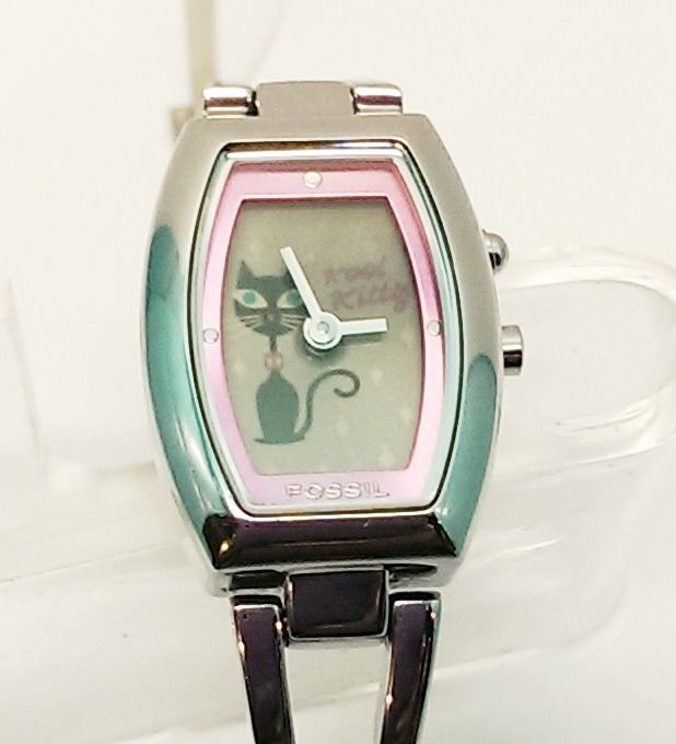 Fossil Big Tic Black Kool Kitty Women's Animated Dress Watch Adorable! ES-9768 $40.00 USD #Fossil #Fashion #Watches #FossilWatches www.iiwiiMerchandise.com