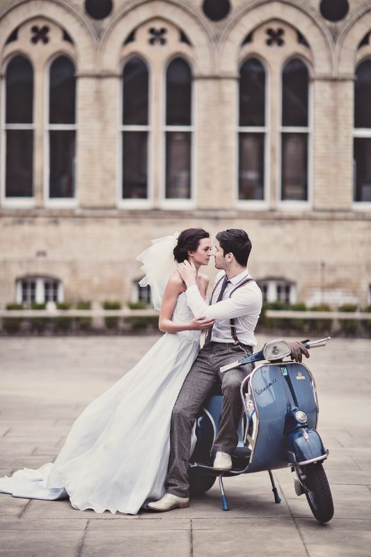 Epic romance for our Coco shoot, wedding moped french pale blue wedding dress
