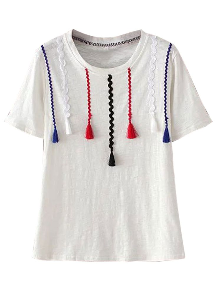 Buy White Tassel Detail Short Sleeve T-shirt from abaday.com, FREE shipping Worldwide - Fashion Clothing, Latest Street Fashion At Abaday.com