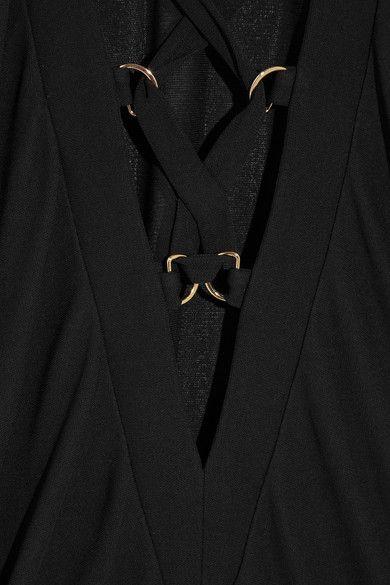 Balmain - Lace-up Crepe Mini Dress - Black - FR40