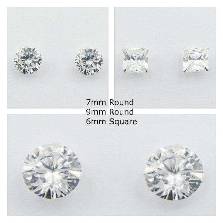 Cubic zirconia stud earrings set 3 pairs =7mm & 9mm Round & 6mm SQ on silver