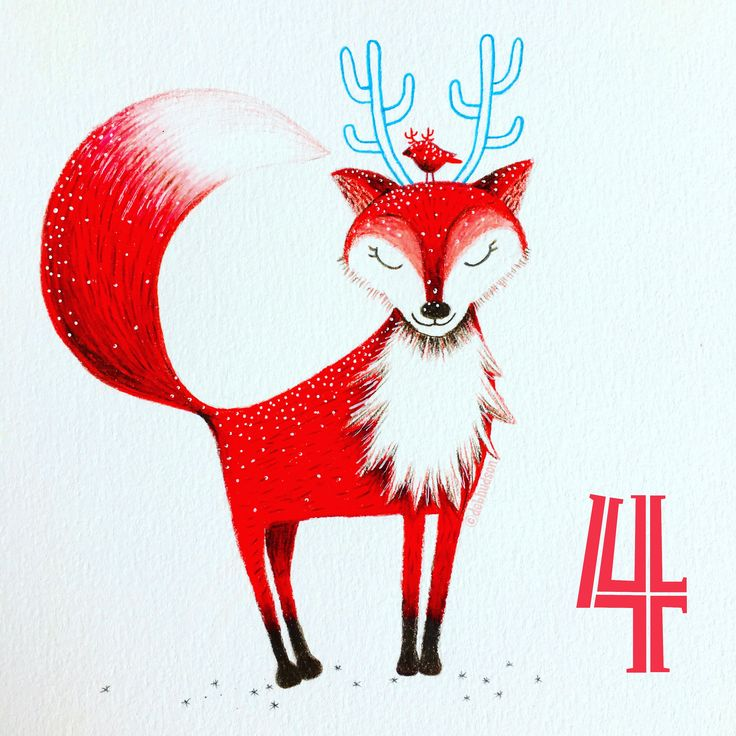 Christmas fox by a Debi Hudson, coloured pencil drawing for the 12 days of Christmas with  @the _portfolio_project