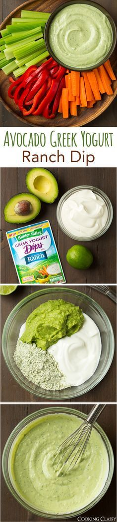 This Avocado Greek Yogurt Ranch Dip has only 4 ingredients and looks like it's a…