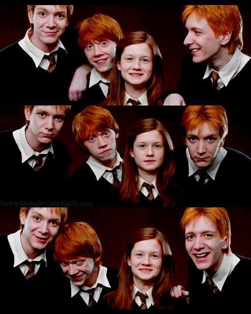 Cabelos ruivos, vestes de segunda mão... Vocês devem ser os Weasley.