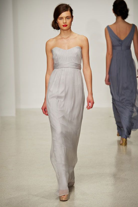 Amsale chiffon bridesmaids style g733c in dove grey and for Charcoal dresses for weddings
