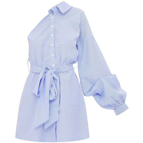 Blue Striped One Shoulder Shirt Dress (2,140 INR) ❤ liked on Polyvore featuring dresses, vestidos, blue color dress, single shoulder dress, stripe dresses, blue striped dress and one-sleeve dress