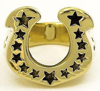 WESTERN STARS HORSESHOE GOLD BRASS MENS RING Sz 9 NEW