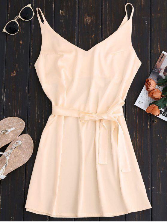 Mini Cami Slip Dress With Choker Strap - APRICOT S