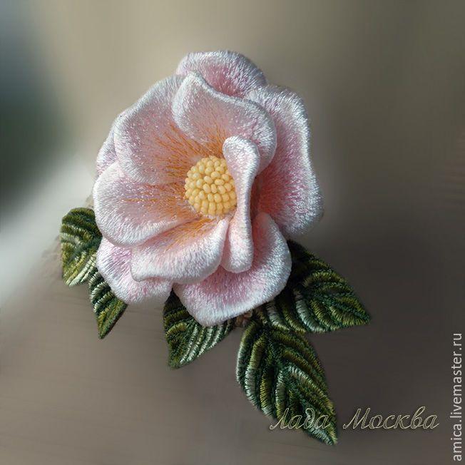 Купить Брошь.Вышивка.Белый шиповник. - брошь, брошка, роза, украшение, цветок, цветы, вышивка
