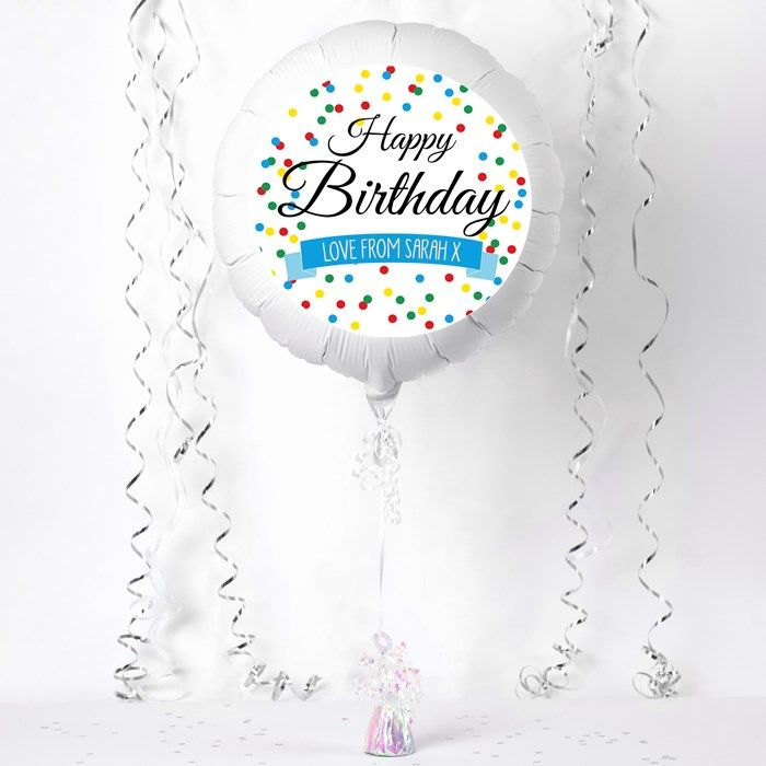 Personalised Large Helium Balloon - Happy Birthday, Spots | GettingPersonal.co.uk