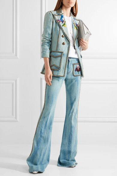 Gucci - Studded Embroidered Denim Blazer - Mid denim - IT4