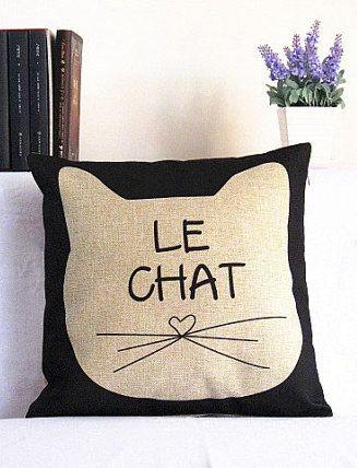Linen Cat Pillow Cover