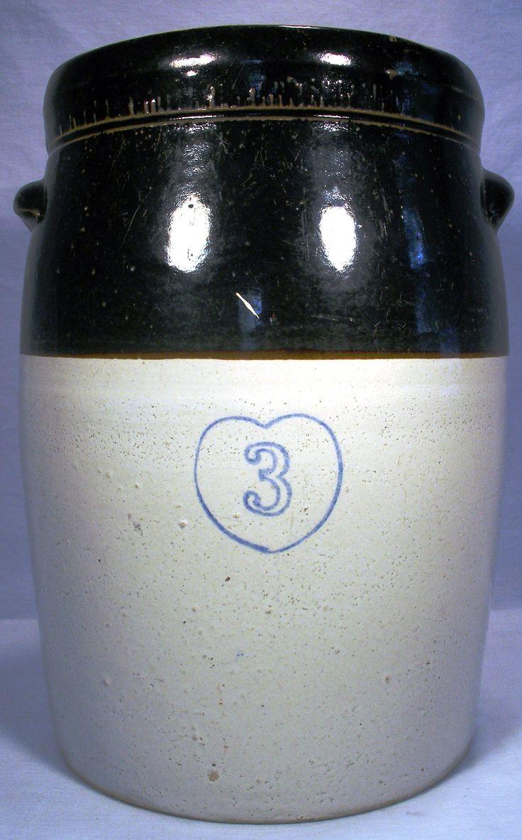 Vintage 3 Gal Cobalt Blue Heart Stoneware 2 Tone Crock