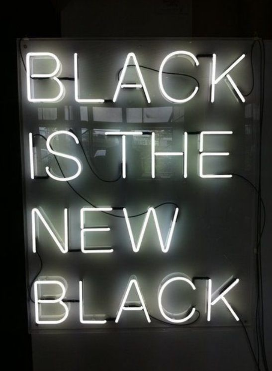 Neon sign black and white dresses