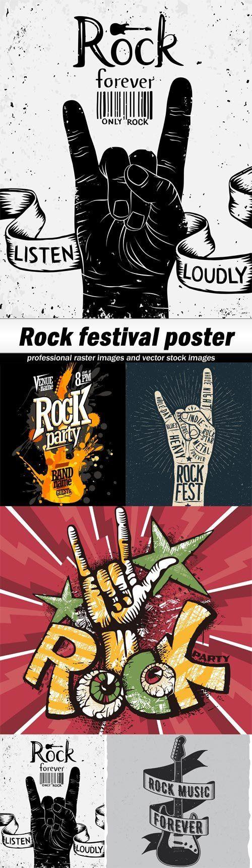 Rock festival poster-5xEPS