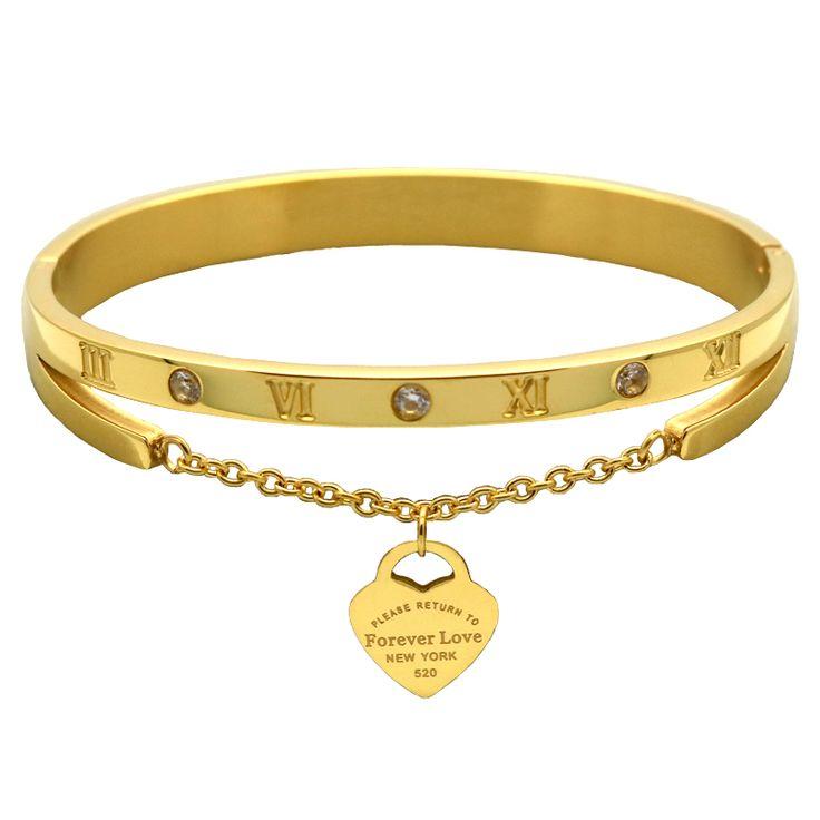 Luxus Berühmte Marke Schmuck Pulseira Edelstahl Armband & Überzog Herz Liebe Tag Armband Schmuck Für Frauen