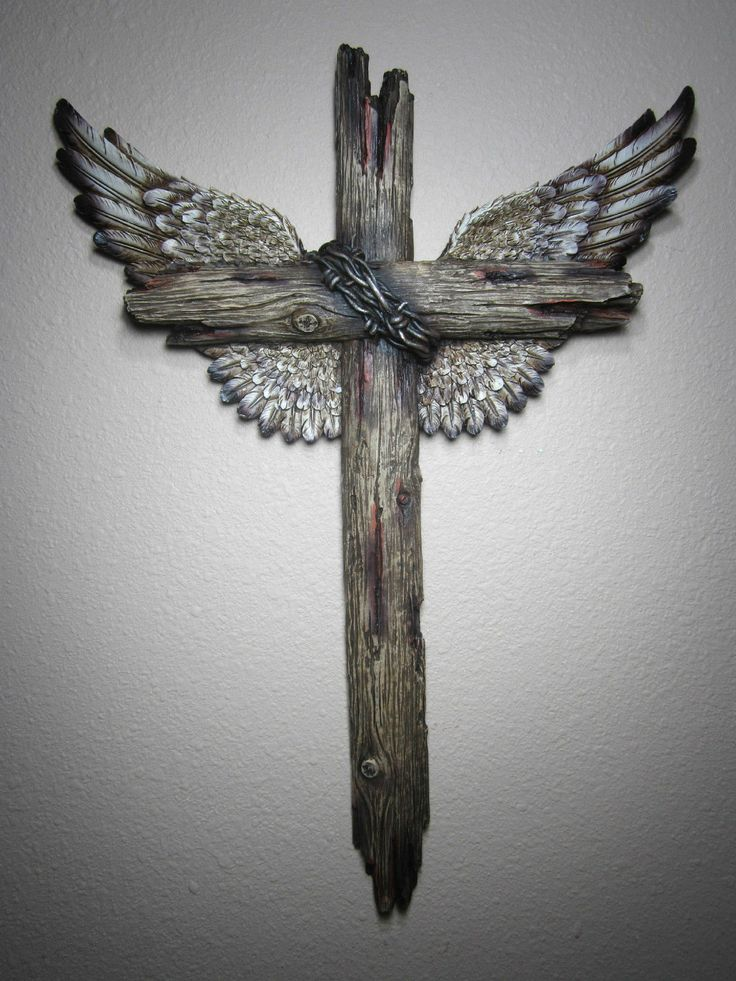 wood crosses within cross  | Rustic 18x13 Western Wood Like Wing Hand Painted Wall Cross
