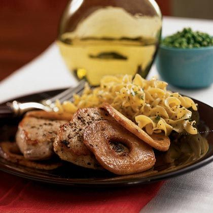 Warm flavors like sage and cinnamon play up the contrast between the juicy pork chops and caramelized apples.