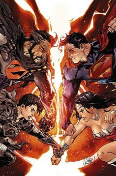 Superman and Wonder Woman vs General Zod and Faora by Tony Daniel, colours by…