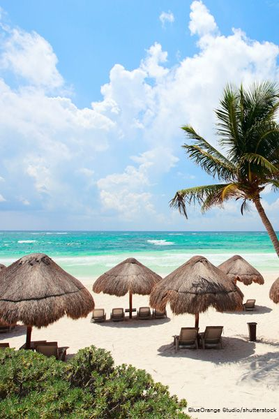 Soak up the sun along the Caribbean coast in Tulum, Mexico.
