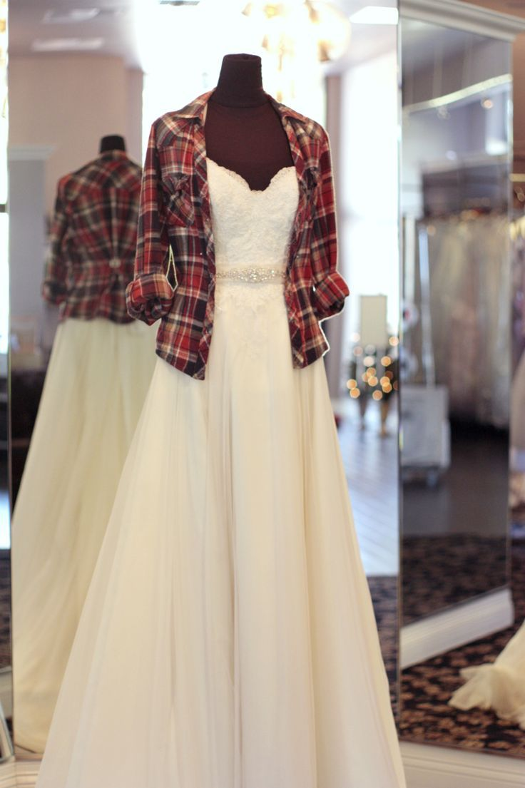 Haha. I could see myself doing this. I don't want a sleeveless wedding dress, but can't pay high price for a modest dress or fancy wedding dress jacket. Eh, just throw a flannel on. I could see myself doing that.
