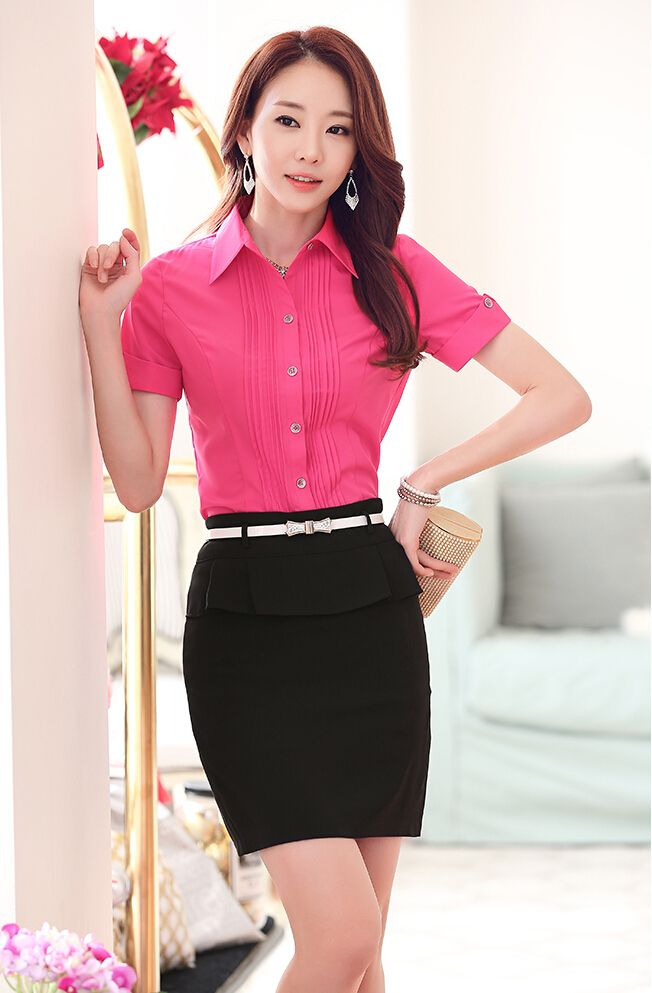 Women's rose #red short sleeve #shirt pleated casual office working style, Rolled sleeve, button fastenings on the front.