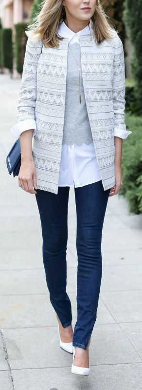 grey scalloped sweater layered classic white button down, jacquard jacket, high waisted ankle zip skinny jeans, white pumps + navy crossbody bag {milly, theory, ivanka trump, victoria beckham, sjp collection, phillip lim}