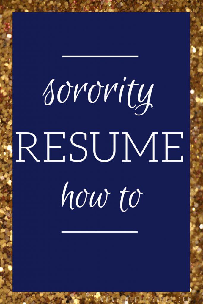 Sorority Resume How to