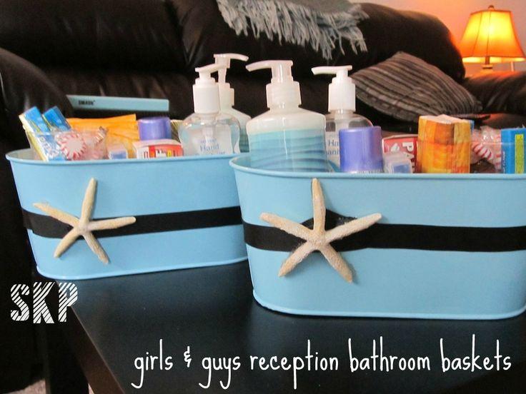 my baskets for the guys & girls bathrooms at reception #pizzoroycewedding