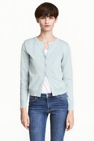 Fine-knit cardigan in cotton with a round neck and ribbing at the cuffs and hem.