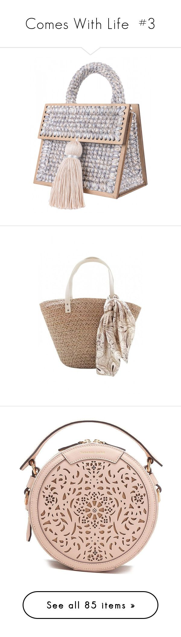 """""""Comes With Life  #3"""" by belenloperfido ❤ liked on Polyvore featuring bags, handbags, beige bag, hand woven bags, hand bags, tassel purse, purse bag, lucluc, beach bag and purses"""