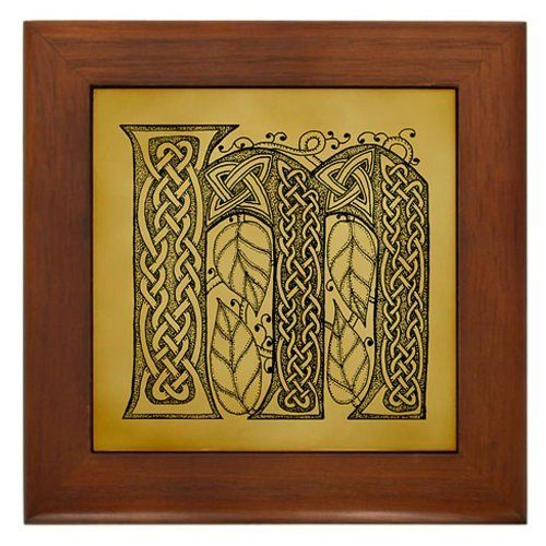 "Celtic Letter M Framed Tile by CafePress by CafePress. $15.00. 100% satisfaction guarantee return policy. Frame measures 6"" X 6"" x 0.5"" with 4.25"" X 4.25"" tile. Two holes for wall mounting. Rounded edges. Quality construction frame constructed of stained Cherrywood. One original, hand-drawn letter initial, monogram from the full alphabet done in Celtic style, with intricate knotwork, spirals, and leaves. artoffoxvox"
