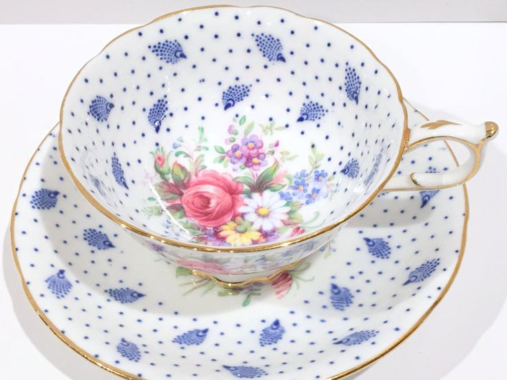 Polka Dot Paragon Tea Cup and Saucer, Antique Teacups, Vintage Tea Party, English Bone China Cups, Blue Cups, Antique Tea Cups, Gift for Her by AprilsLuxuries on Etsy https://www.etsy.com/ca/listing/198919697/polka-dot-paragon-tea-cup-and-saucer