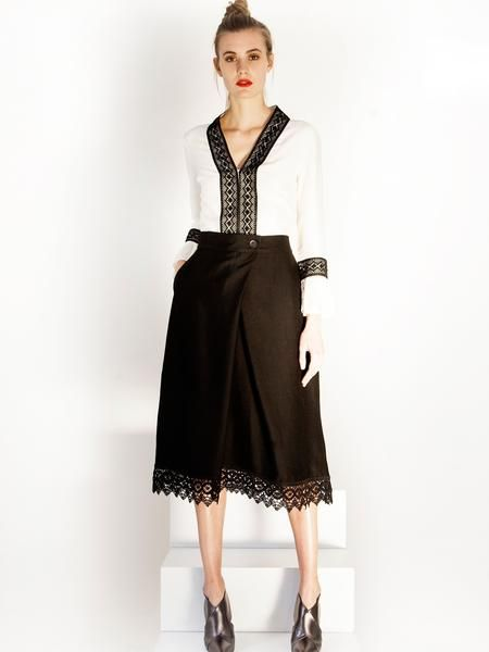 Cream evening shirt jacket / Black midi skirt with front wrap detail / Black lace trim