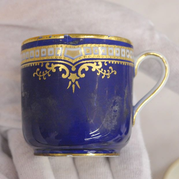 Amazing Cobalt Blue China Tea Cup used by the first class passengers ~ retrieved from Titanic wreck site.