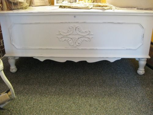 Cedar Chest-hand painted distressed, hand painted white, hand painted white distressed, white cedar chest-via Cottage Flair