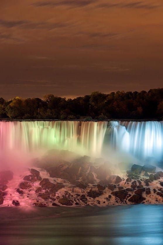 The American Falls at Night ~ Bridal Veil Falls, Niagara Falls, #NewYork, #USA