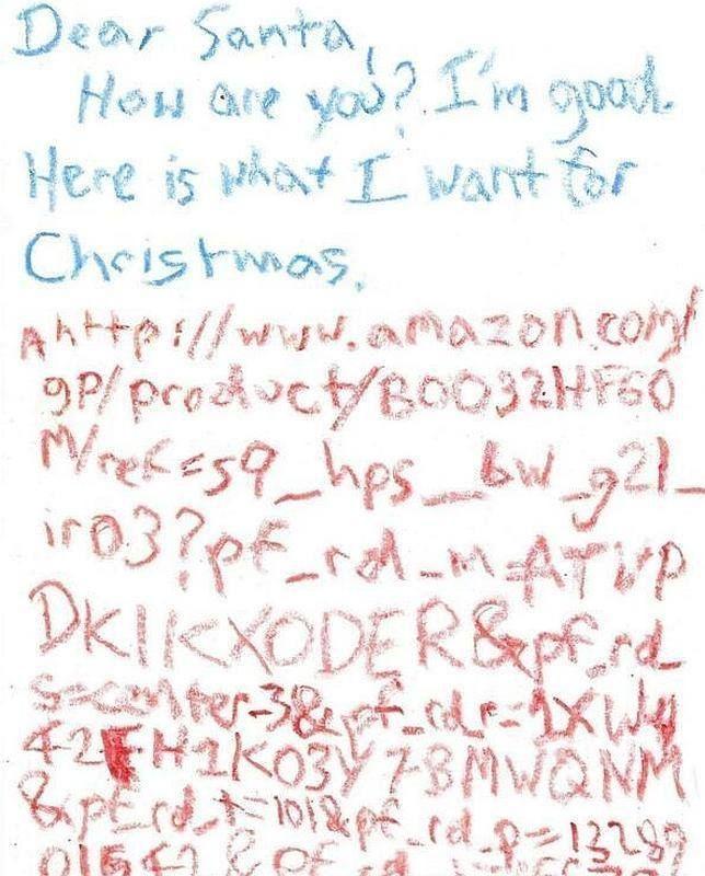 Este niño ha causado sensación!! Le ha escrito una carta a Papa Noel incluyendo el URL del regalo que quiere... para que no haya posibles confusiones. Que ya sabéis que pasa luego... pides una cosa... y te traen otra..
