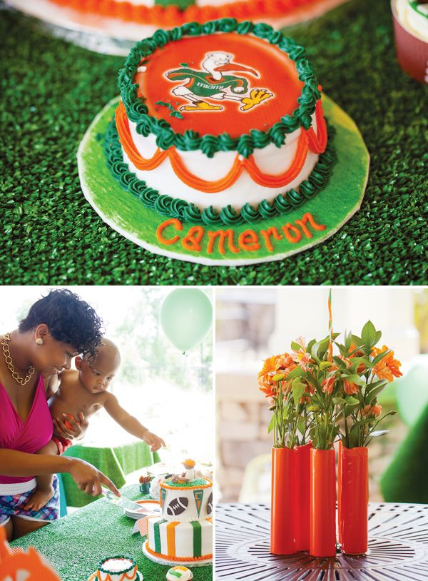 """Go Canes"" UM Football Themed Birthday Party - this was a real party for a little boy done in Canes colors and with Sebastian."
