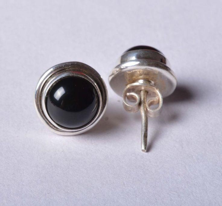 925 Solid Sterling Silver Stud Natural Black Onyx Gemstone 2.0 CM JSS-22 #JaipurSilver