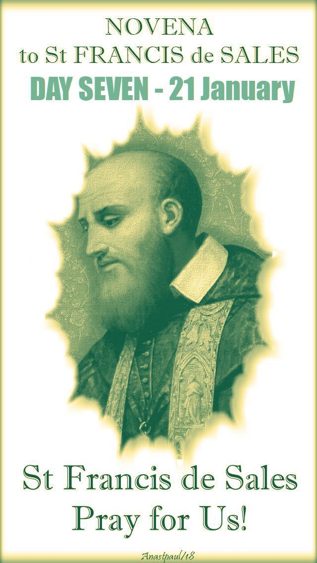 """Novena to St Francis de Sales Day SEVEN – 21 January  """"Our intellect is ordinarily full of ideas, opinions and considerations suggested by self-love.   This is the root of many conflicts within the soul, putting before us all sorts of reasons dictated by human prudence to justify our pretensions.   People who make use of this false prudence, instead of enlightening their intellect, obscure it.   They reject ....#mypic"""