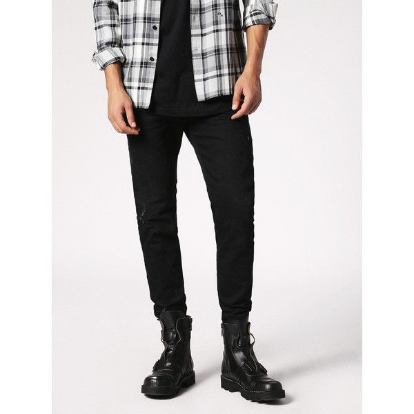 Diesel JIFER 084JS Tapered ($228) ❤ liked on Polyvore featuring men's fashion, men's clothing, men's jeans, black jeans, denim, men, tapered, mens stretchy jeans, mens tapered jeans and mens slim fit tapered jeans