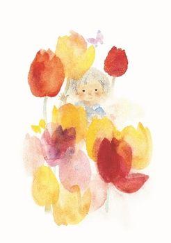 いわさきちひろ「チューリップと子ども(1970年頃) 」chihiro iwasaki