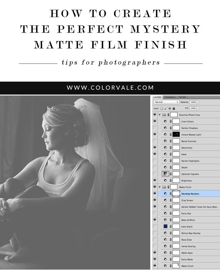 How to Create the Perfect Mystery Matte Film Finish - Learn to create rich deep matte film finishes in Photoshop. We have a ton of Editing Tips For Photographers so you can make Photoshop your b...est friend! http://www.colorvaleactions.com/blog/how-to-create-the-perfect-mystery-matte-film-finish/