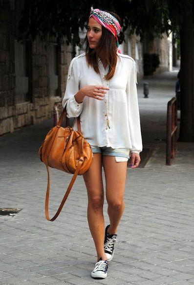 Shirts, Shorts: Zara, Shoes: Converse, Bag: Bimba & Lola, Scarf: H